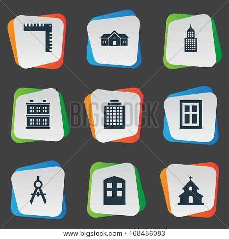 Set Of 9 Simple Architecture Icons. Can Be Found Such Elements As Glazing, Popish, Offices And Other.