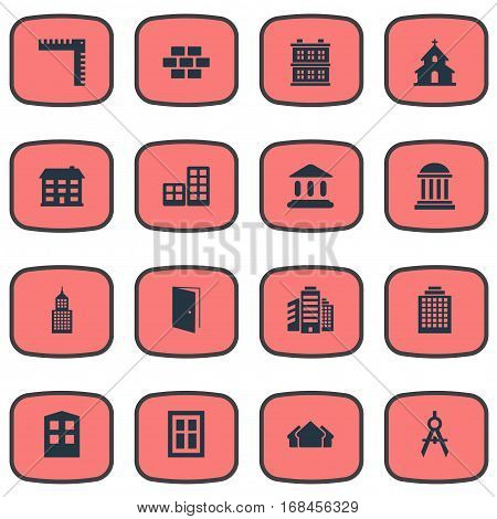 Set Of 16 Simple Architecture Icons. Can Be Found Such Elements As Flat, Superstructure, Structure And Other.