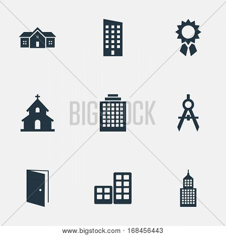 Set Of 9 Simple Architecture Icons. Can Be Found Such Elements As Offices, Residence, Popish And Other.