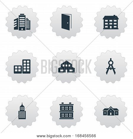 Set Of 9 Simple Architecture Icons. Can Be Found Such Elements As Engineer Tool, Structure, Residence And Other.