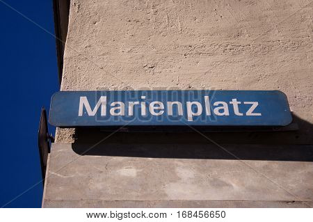 Sign indicating the Marienplatz, a large square in Munich, Germany