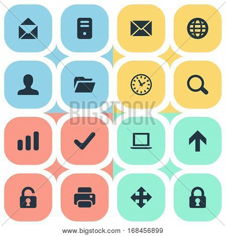 Set Of 16 Simple Apps Icons. Can Be Found Such Elements As Computer Case, Upward Direction, Lock And Other.