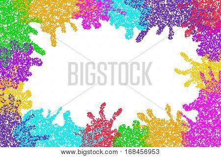 Festive colorful background for Indian spring festival Holi. Vivid design with colored particles. Bright multicolor surface for posters banners flyers cards invitations etc