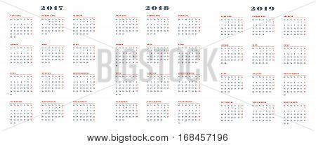 Set Of Calendars For 2017, 2018, 2019 Years. Week Starts Monday. Vector Illustration