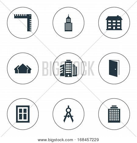 Set Of 9 Simple Architecture Icons. Can Be Found Such Elements As Superstructure, Structure, Shelter And Other.