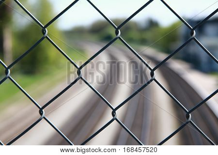 Railroad metal fence cargo industrial security line