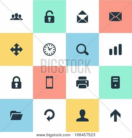 Set Of 16 Simple Application Icons. Can Be Found Such Elements As Computer Case, Community, User And Other.
