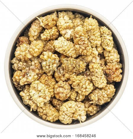sun dried white mulberries in a round isolated bowl