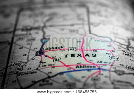 Travel to locations on map views paper destinations Texas