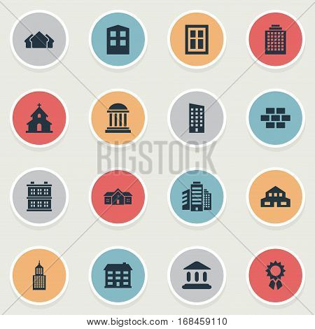 Set Of 16 Simple Construction Icons. Can Be Found Such Elements As School, Popish, Block And Other.