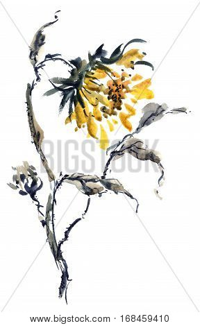 Watercolor and ink illustration of sunflower in style sumi-e u-sin. Oriental traditional painting.