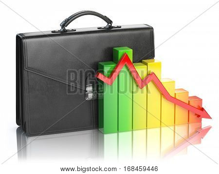 Decline of stock market portfolio concept. Briefcase and graph isolated on white background. 3d illustration
