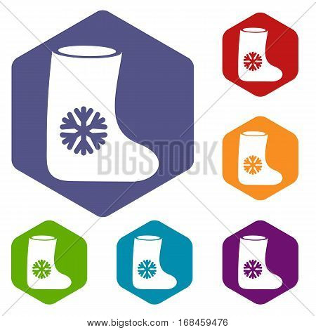 Felt boots icons set rhombus in different colors isolated on white background