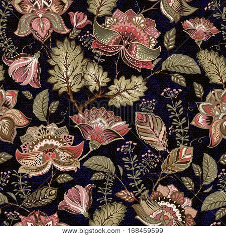 Colorful seamless pattern. Floral background.Black flowers wallpaper