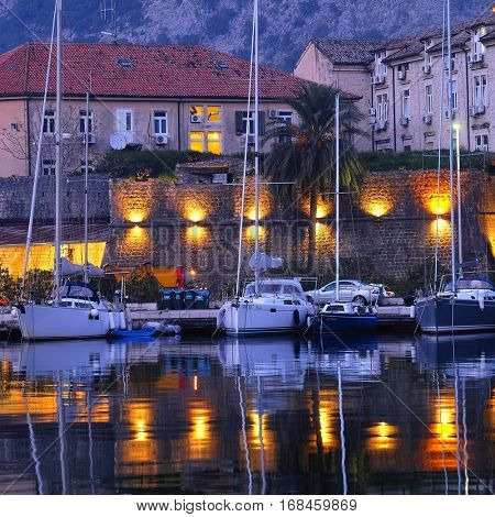 Kotor, Montenegro, November, 16, 2015: Landscape with the image of night Kotor, Montenegro