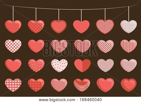 Collection of sewed hearts and other flat heart designs