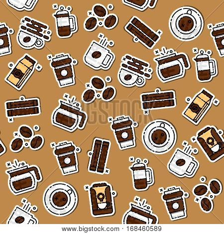 Coffee icons pattern with french press machine pouch grinder isolated vector illustration