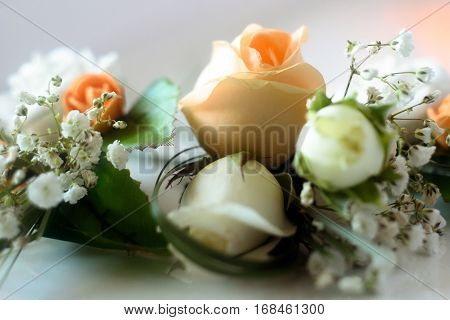 Luxury Boutonnieres With Roses And Pearls For Gorgeous Wedding Ceremony