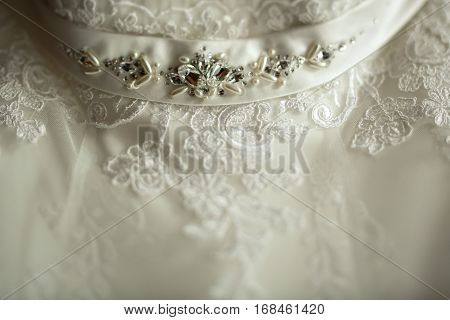 Luxury Wedding Dress Belt With Pearl And Stones  In Room In The Morning