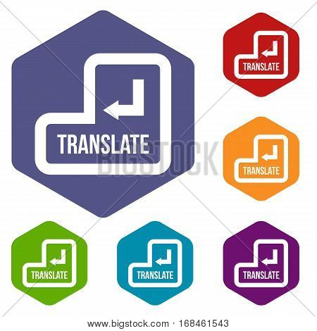 Translate button icons set rhombus in different colors isolated on white background