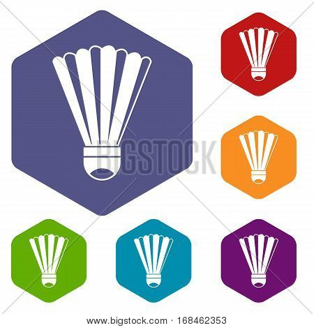 Shuttlecock icons set rhombus in different colors isolated on white background
