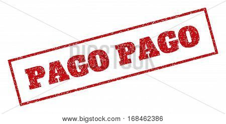 Red rubber seal stamp with Pago text. Vector tag inside rectangular frame. Grunge design and scratched texture for watermark labels. Inclined sign.
