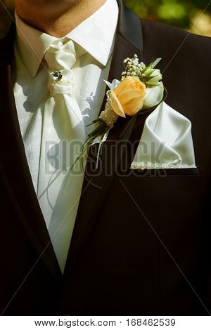 Luxury Stylish Groom With Boutonniere On Elegant Suit And  Tie Close-up At Wedding Ceremony