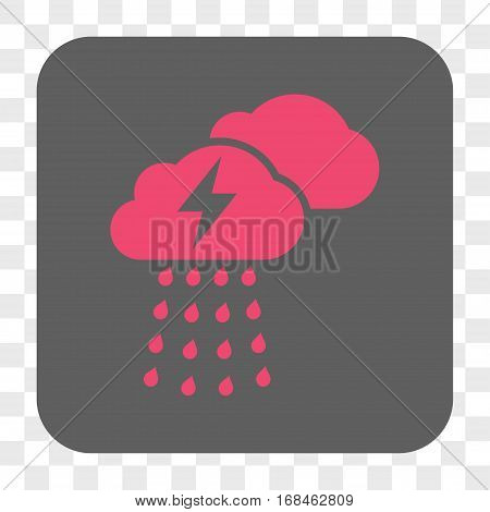 Thunderstorm Clouds interface toolbar button. Vector icon style is a flat symbol on a rounded square button pink and gray colors chess transparent background.