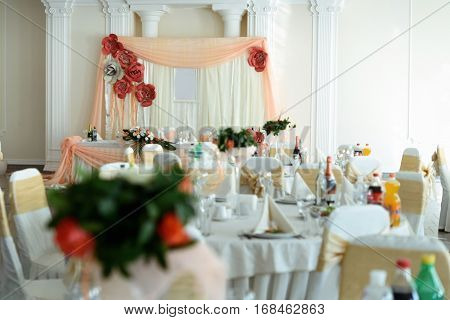 Luxury Decorated Table Centerpiece With Roses At Reception In Restaurant