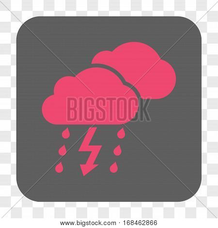 Thunderstorm Clouds interface toolbar button. Vector icon style is a flat symbol in a rounded square button pink and gray colors chess transparent background.