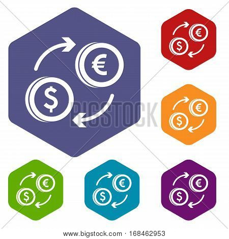 Euro dollar euro exchange icons set rhombus in different colors isolated on white background