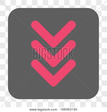 Triple Arrowhead Down interface toolbar button. Vector icon style is a flat symbol in a rounded square button pink and gray colors chess transparent background.