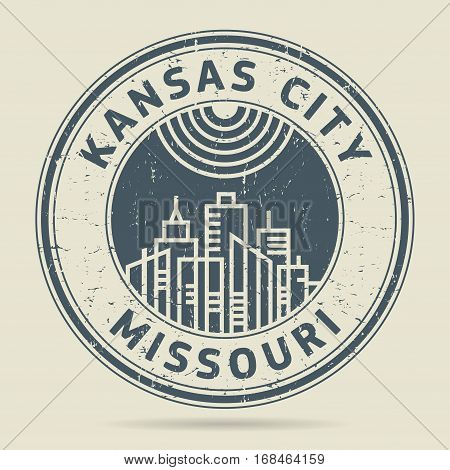 Grunge rubber stamp or label with text Kansas City Missouri written inside vector illustration