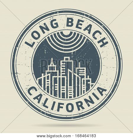 Grunge rubber stamp or label with text Long Beach California written inside vector illustration