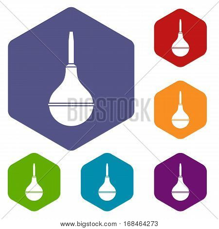 Medical pear icons set rhombus in different colors isolated on white background