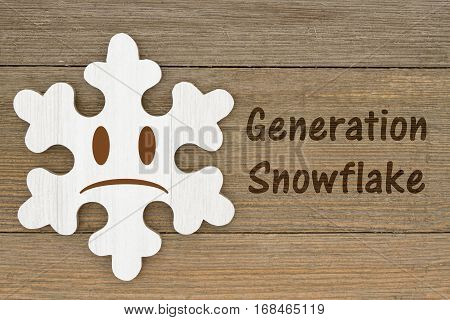 Generation Snowflake message A retro wood snowflake on weathered wood background with text Generation Snowflake