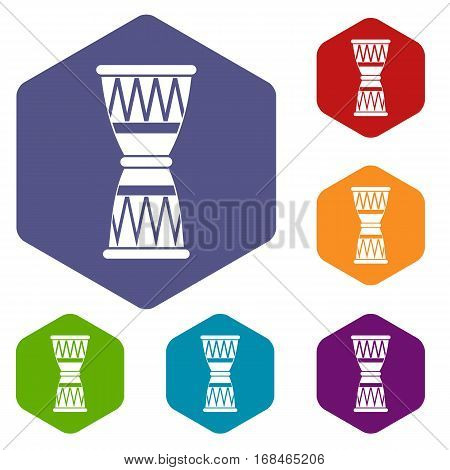 African drum icons set rhombus in different colors isolated on white background