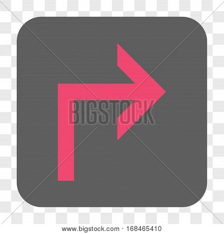 Turn Right interface toolbar button. Vector icon style is a flat symbol inside a rounded square button pink and gray colors chess transparent background.