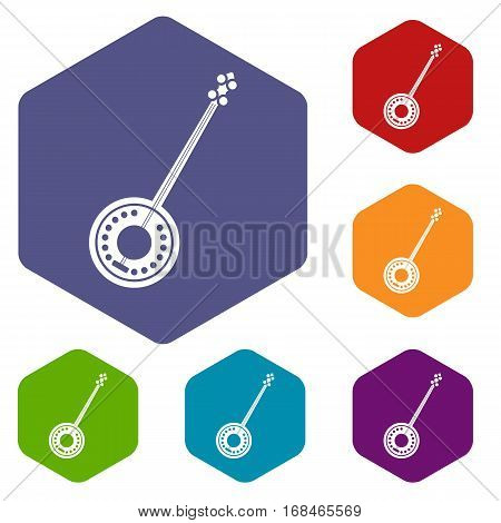 Banjo icons set rhombus in different colors isolated on white background