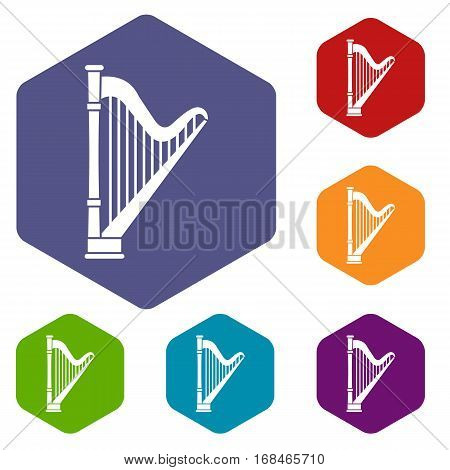 Harp icons set rhombus in different colors isolated on white background
