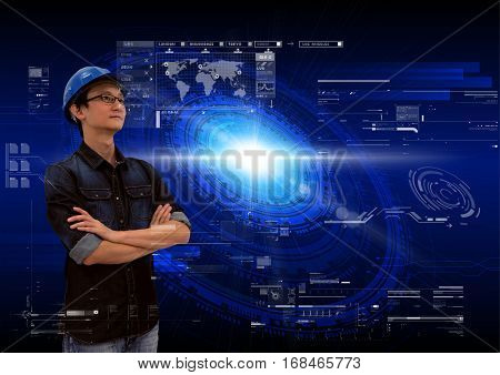 Asian engineer analysing high tech interface elements sci-fi technology abstract background advanced computer software engineering or future solar power energy concept