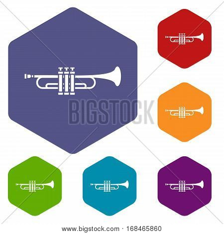 Brass trumpet icons set rhombus in different colors isolated on white background