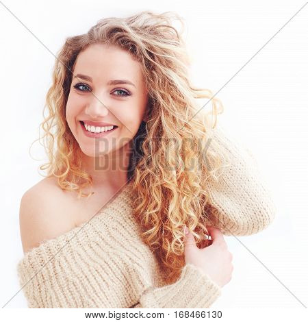 Portrait Of Beautiful Happy Woman With Curly Hair