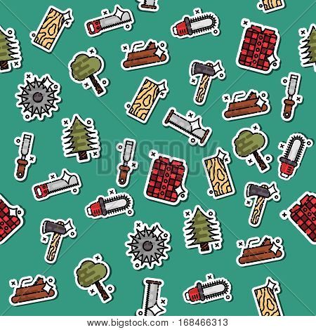 Lumberjack isometric color icons pattern of woodworking tools lumber trucks and other isolated vector illustration