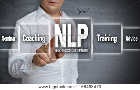 Nlp Touch Screen Concept Background Is Shown By Man