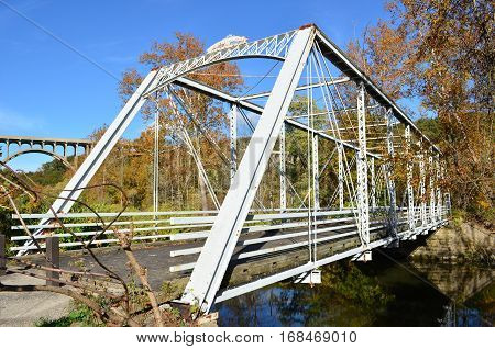 Walking bridge over river in Cuyahoga Valley National Park