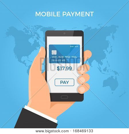 Mobile Payment Concept. Hand Holding Smartphone With Credit Card And Button On The Screen. Vector Il