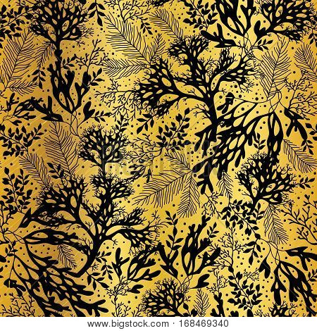 Vector Gold Black Seaweed Texture Seamless Pattern Background. Great for elegant gray texture fabric, cards, wedding invitations, wallpaper. Textile pattern design.