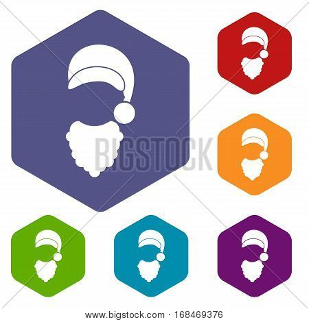 Cap with pompon of Santa Claus and beard icons set rhombus in different colors isolated on white background