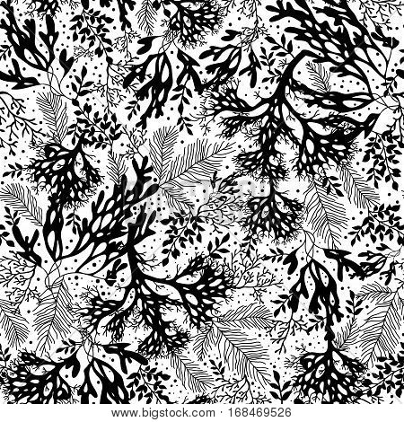 Vector Black and White Seaweed Texture Seamless Pattern Background. Great for elegant gray fabric, cards, wedding invitations, wallpaper. Textile pattern design.
